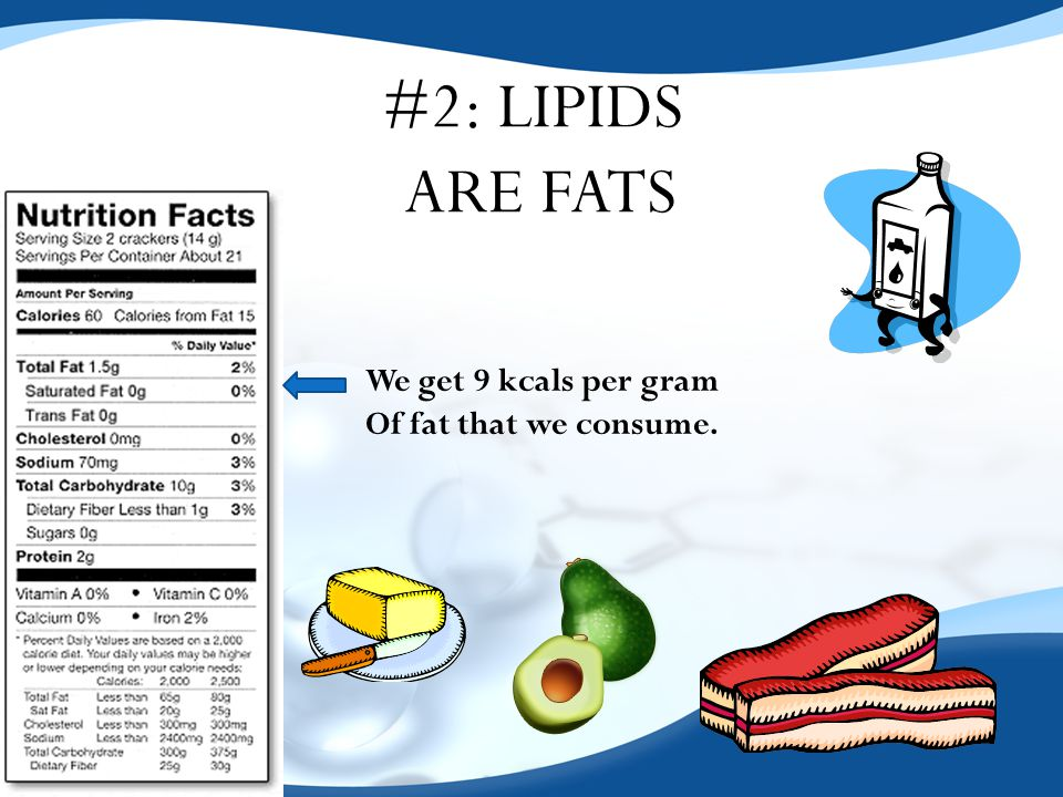 #2: LIPIDS ARE FATS We get 9 kcals per gram Of fat that we consume.