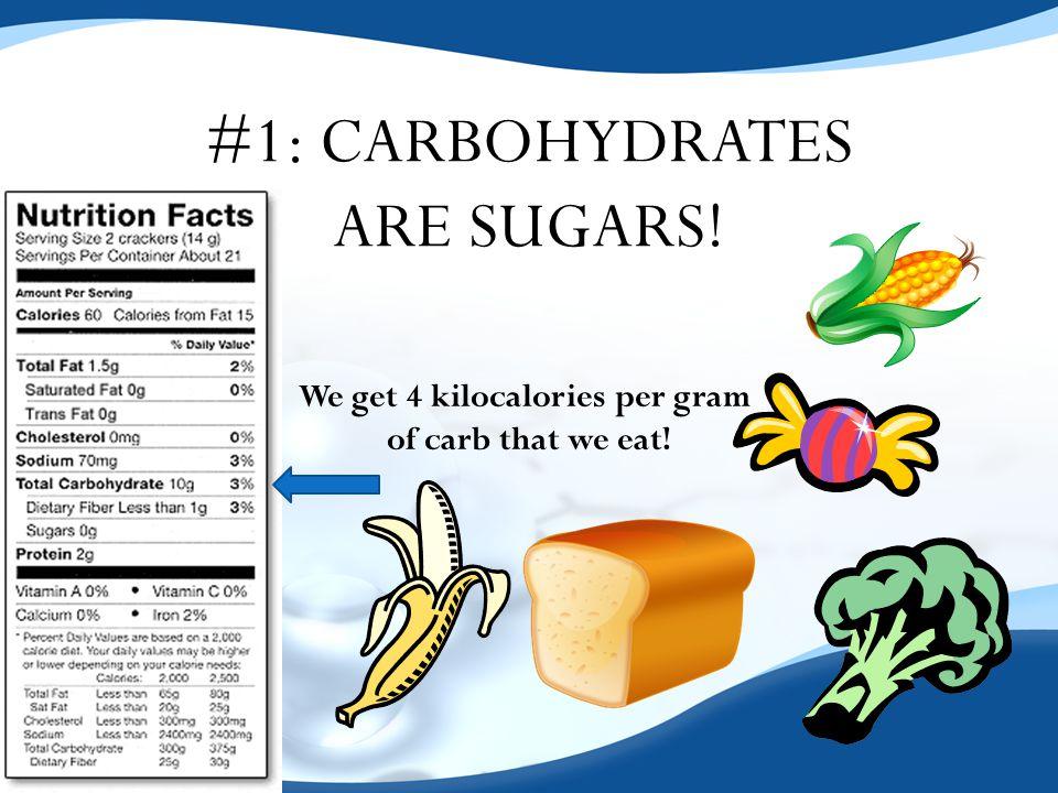 We get 4 kilocalories per gram