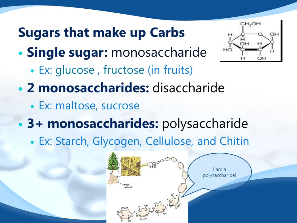 Sugars that make up Carbs