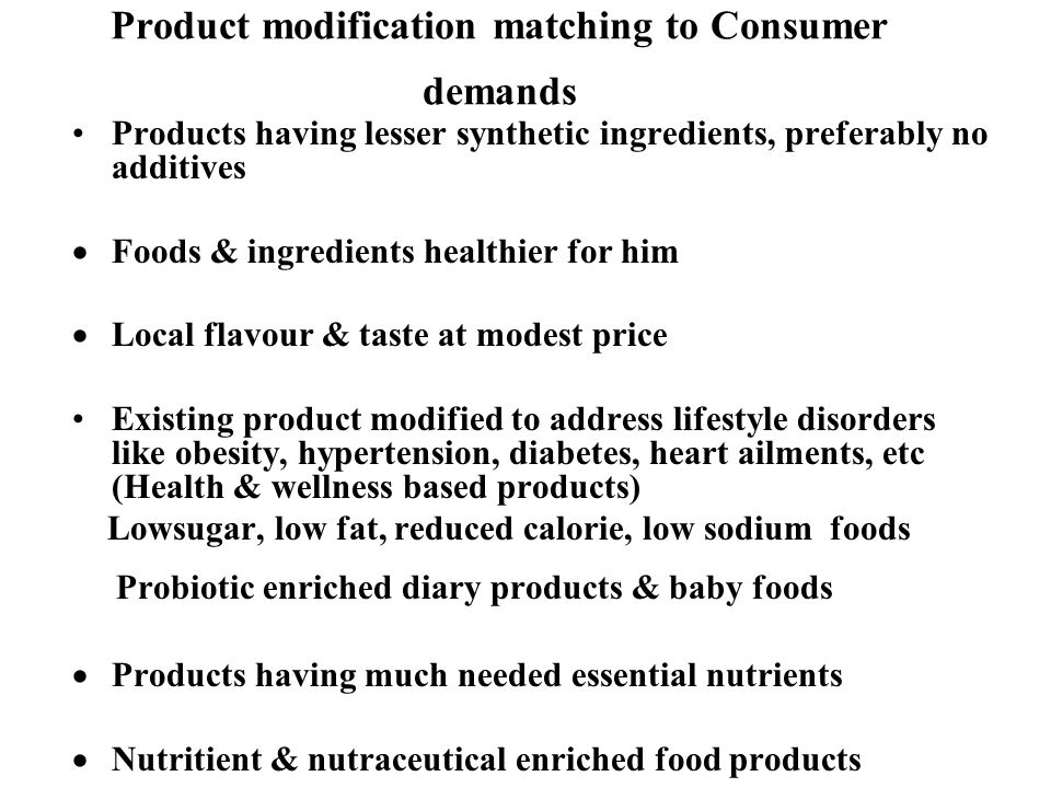 Product modification matching to Consumer demands