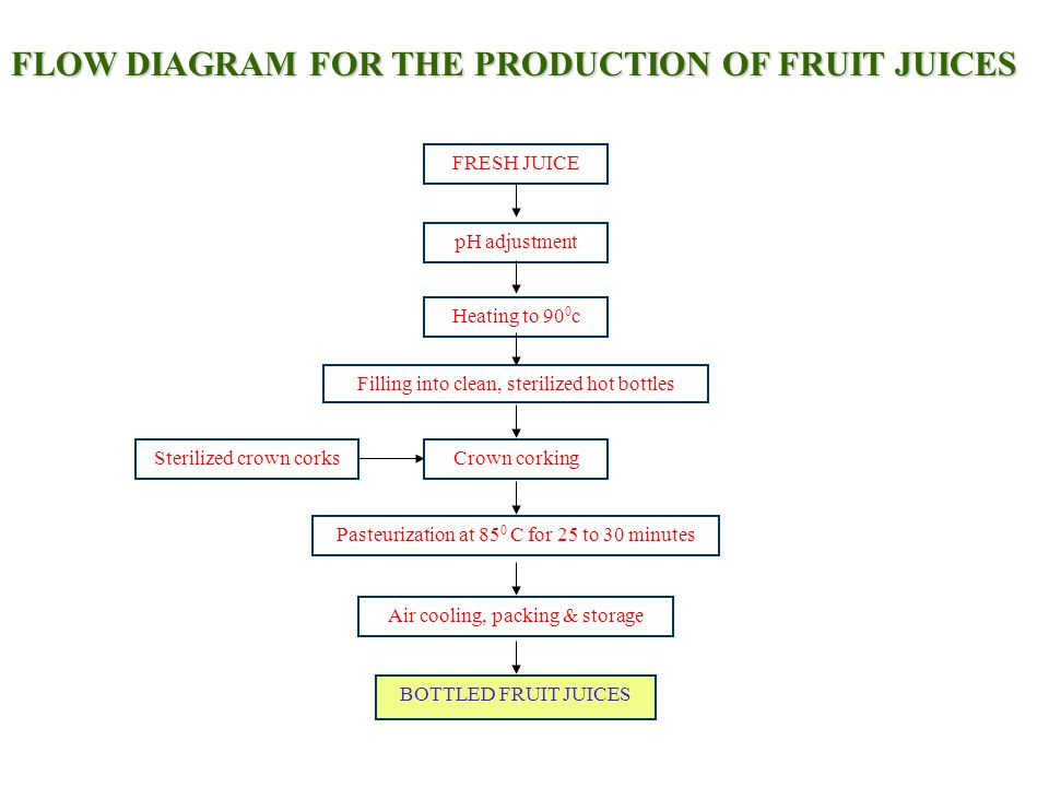 FLOW DIAGRAM FOR THE PRODUCTION OF FRUIT JUICES