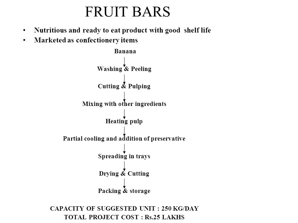 FRUIT BARS Nutritious and ready to eat product with good shelf life. Marketed as confectionery items.