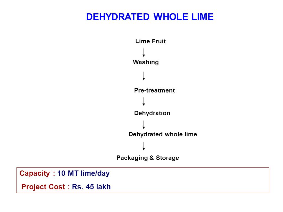 DEHYDRATED WHOLE LIME Capacity : 10 MT lime/day