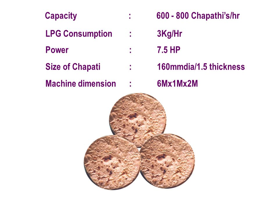 Capacity : 600 - 800 Chapathi's/hr
