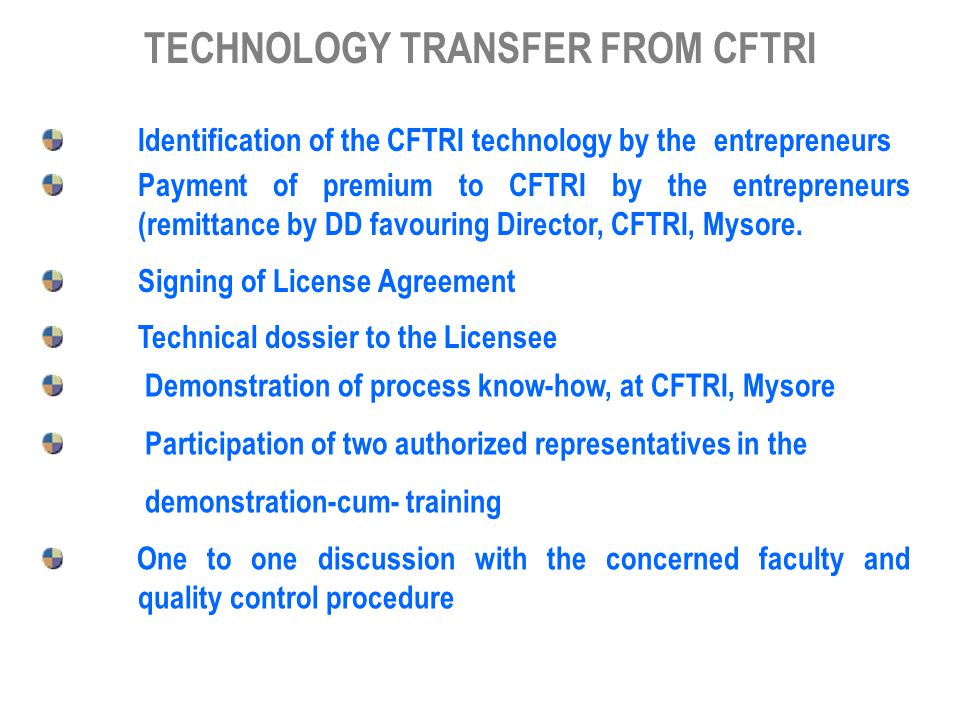 TECHNOLOGY TRANSFER FROM CFTRI