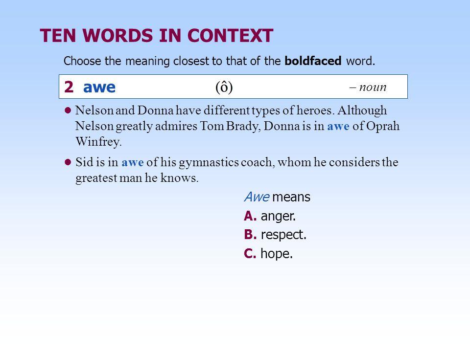 TEN WORDS IN CONTEXT 2 awe – noun