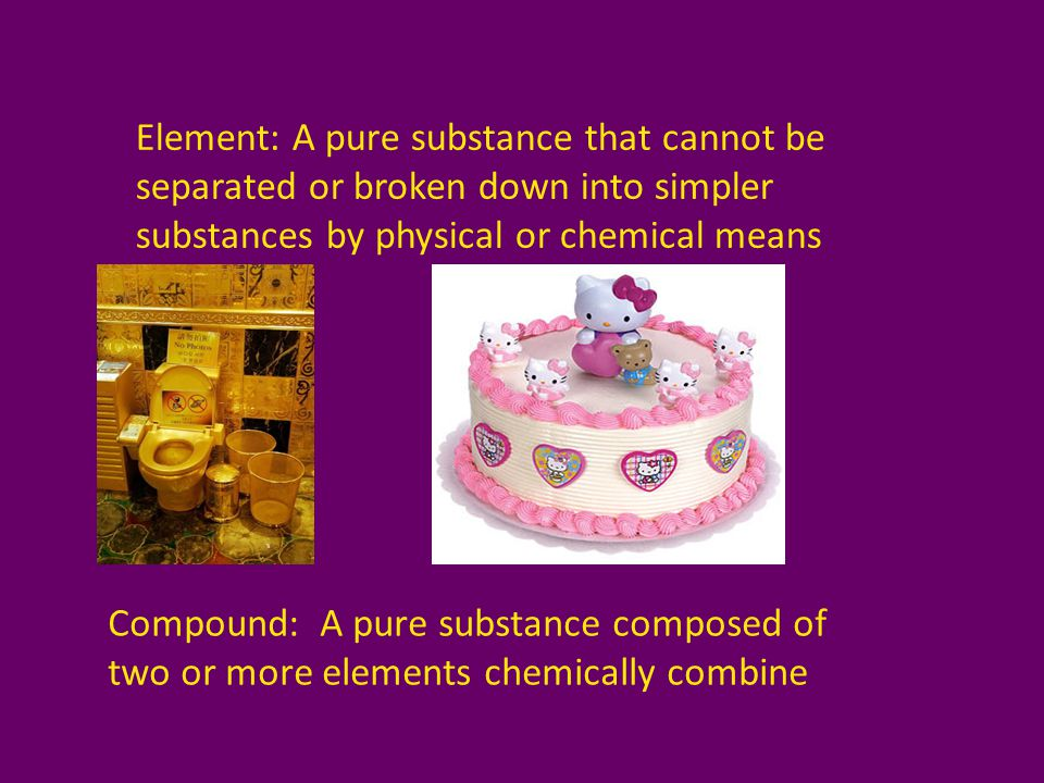 Element: A pure substance that cannot be separated or broken down into simpler substances by physical or chemical means