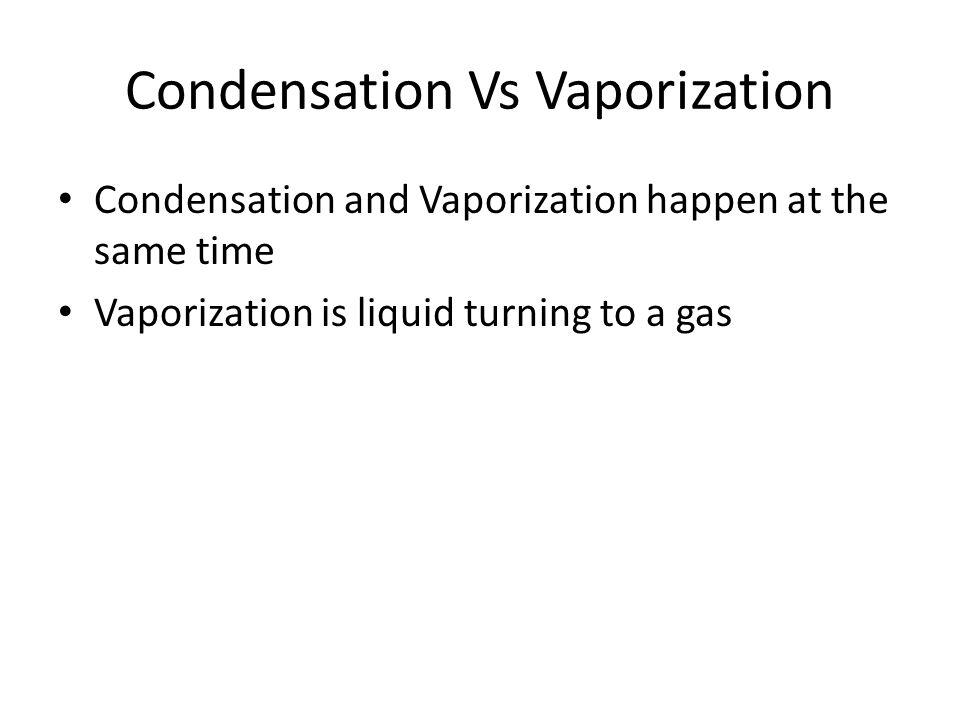 Condensation Vs Vaporization