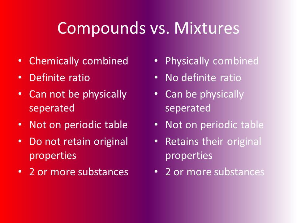 Compounds vs. Mixtures Chemically combined Definite ratio