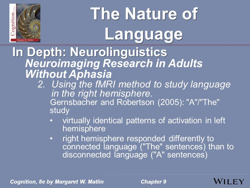 The Nature of Language In Depth: Neurolinguistics