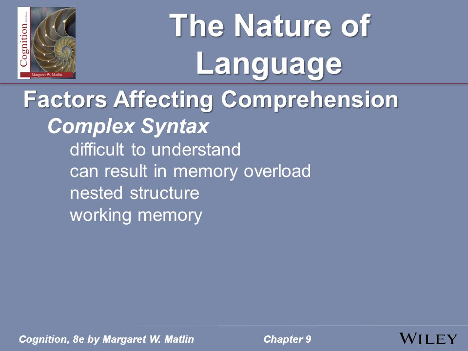 The Nature of Language Factors Affecting Comprehension Complex Syntax