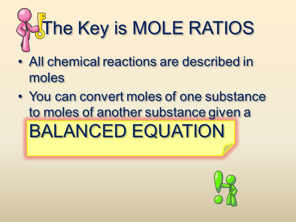 The Key is MOLE RATIOS All chemical reactions are described in moles