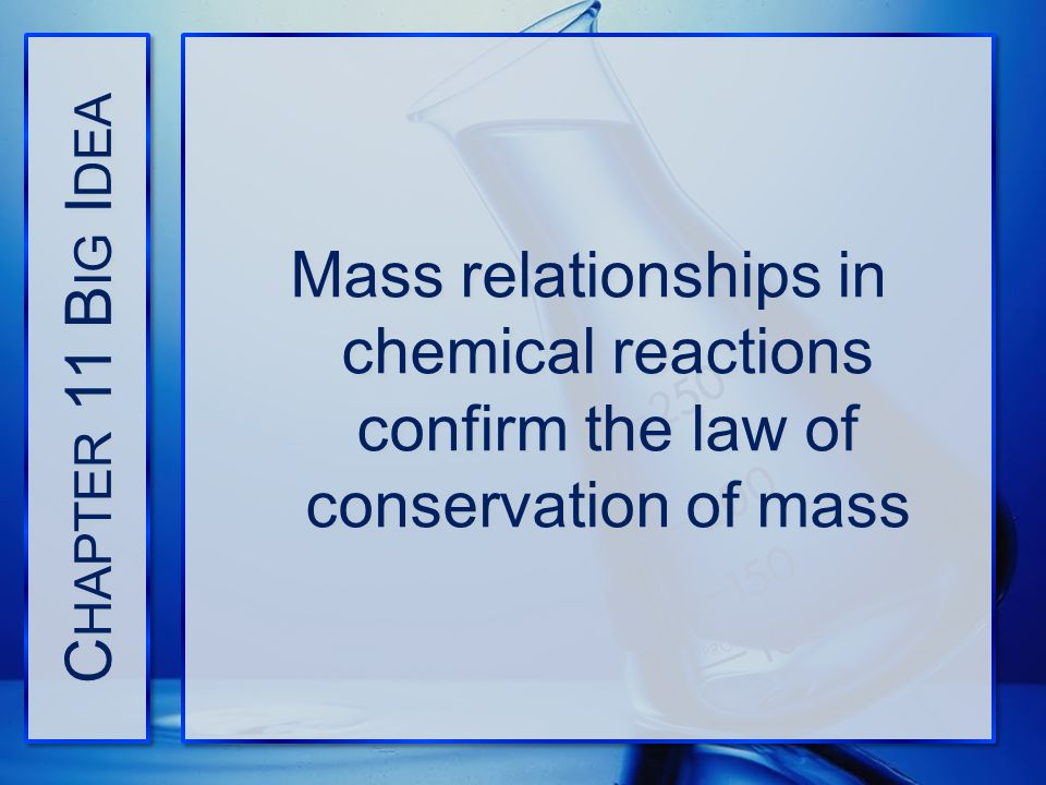 Chapter 11 Big Idea Mass relationships in chemical reactions confirm the law of conservation of mass.