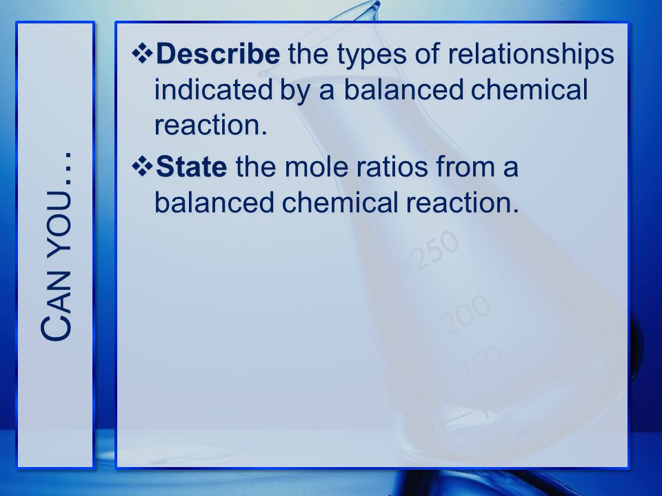 Can you… Describe the types of relationships indicated by a balanced chemical reaction.