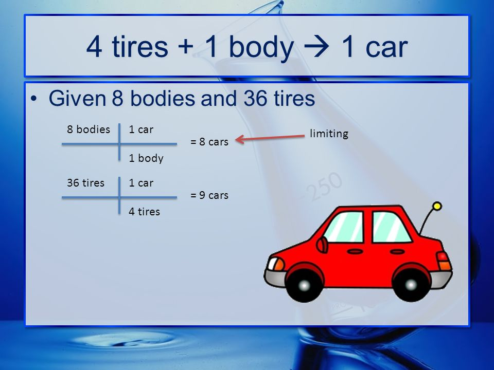 4 tires + 1 body  1 car Given 8 bodies and 36 tires 8 bodies 1 car