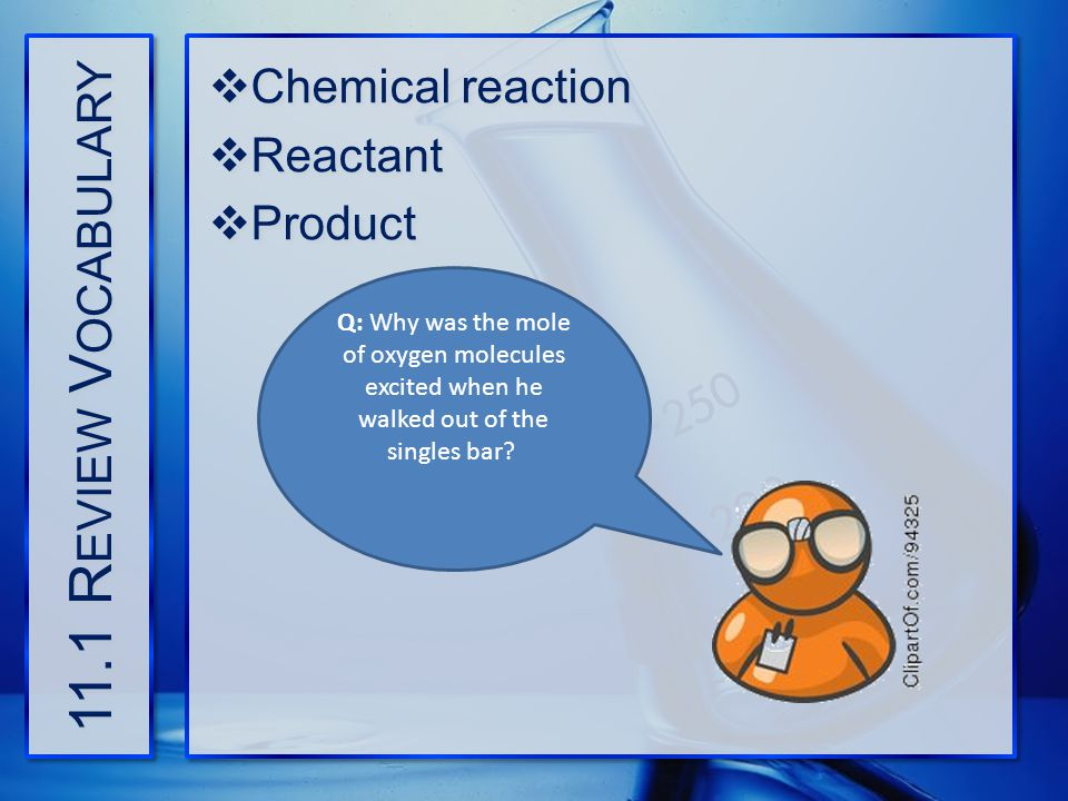 11.1 Review Vocabulary Chemical reaction Reactant Product