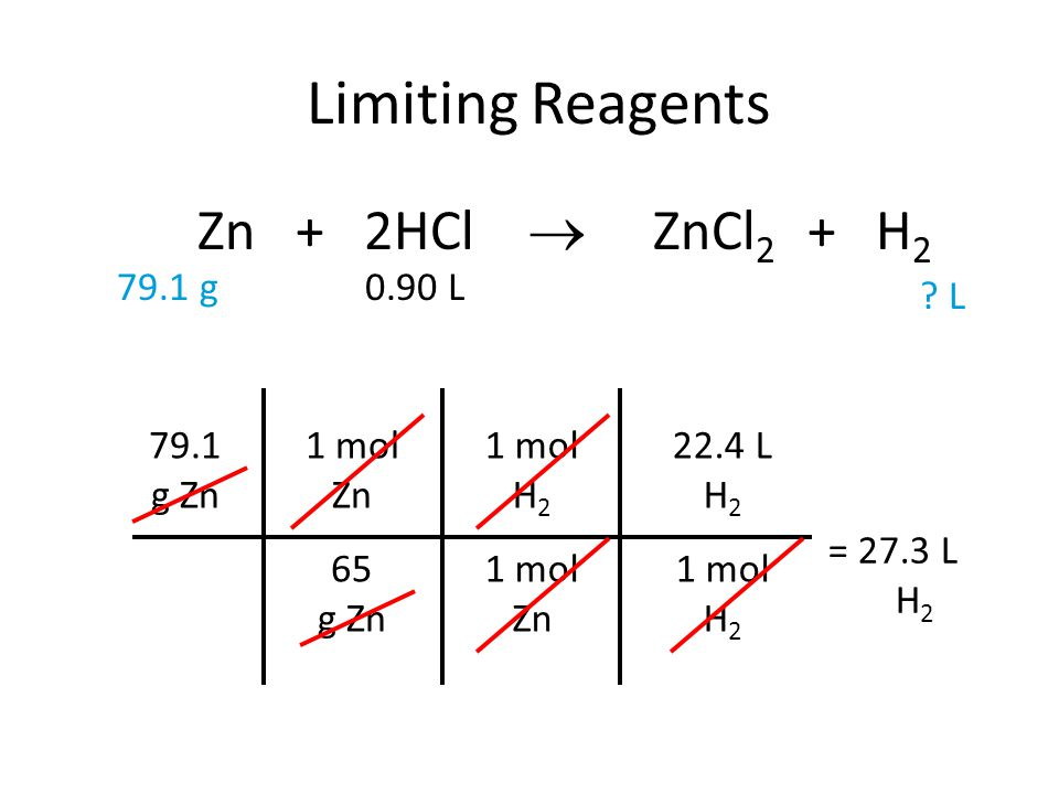 Limiting Reagents Zn + 2HCl  ZnCl2 + H2 79.1 g 0.90 L L 79.1 g Zn