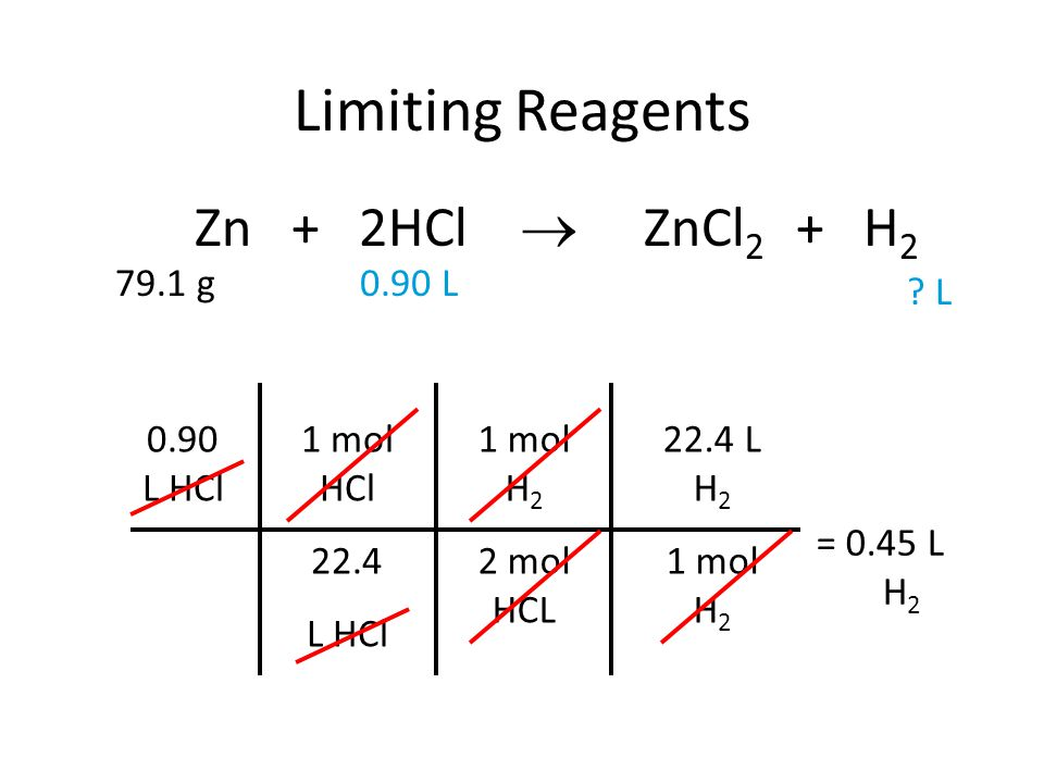 Limiting Reagents Zn + 2HCl  ZnCl2 + H2 79.1 g 0.90 L L 0.90 L HCl