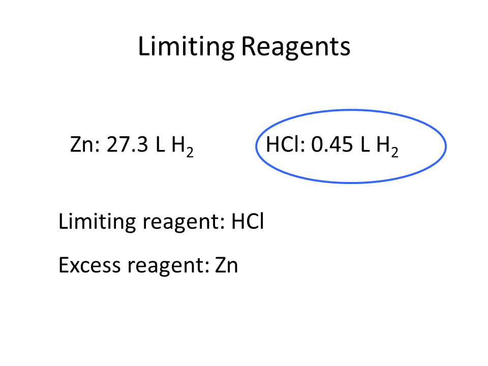 Limiting Reagents Zn: 27.3 L H2 HCl: 0.45 L H2 Limiting reagent: HCl