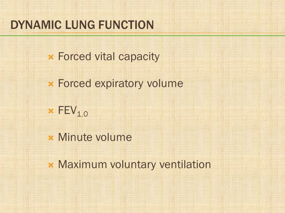 Dynamic Lung Function Forced vital capacity Forced expiratory volume