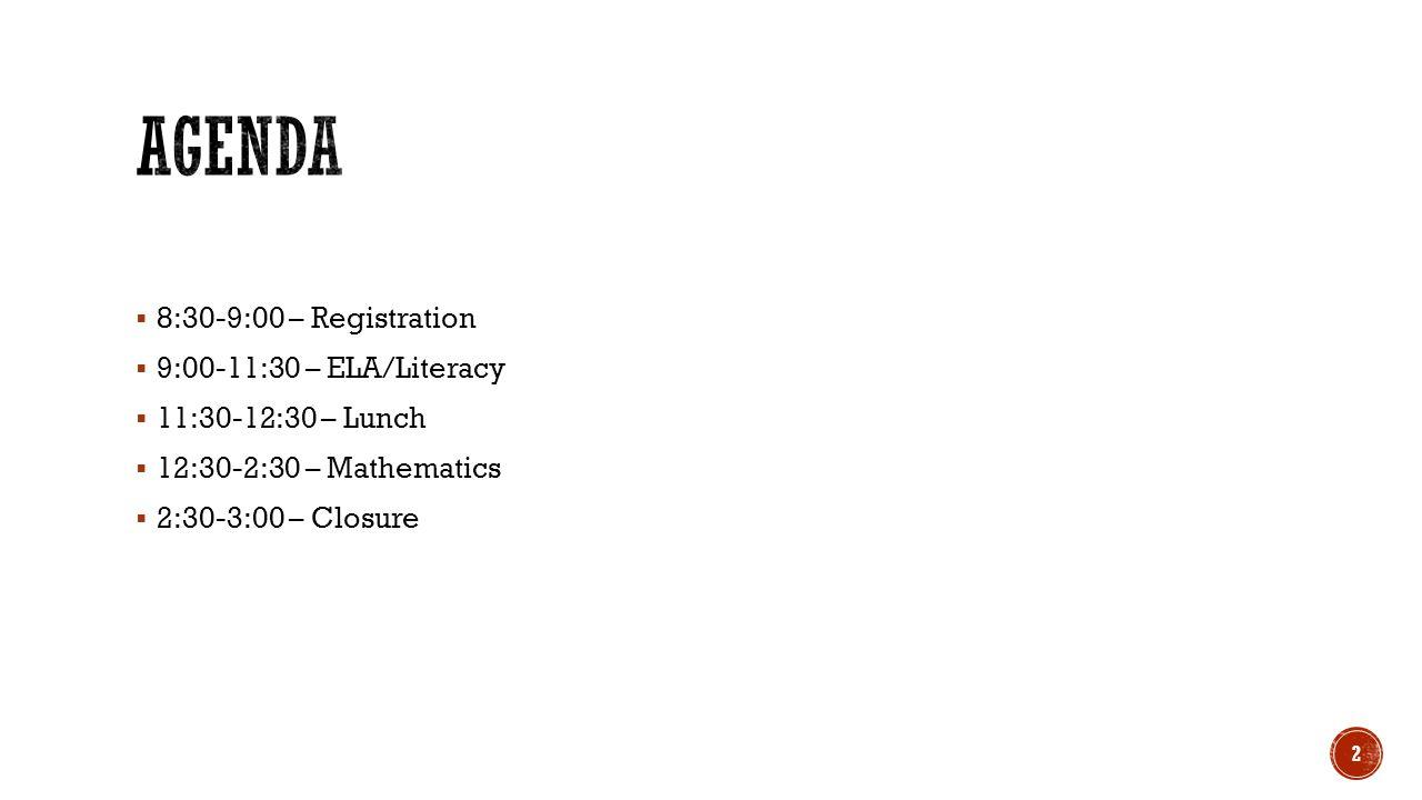 Agenda 8:30-9:00 – Registration 9:00-11:30 – ELA/Literacy