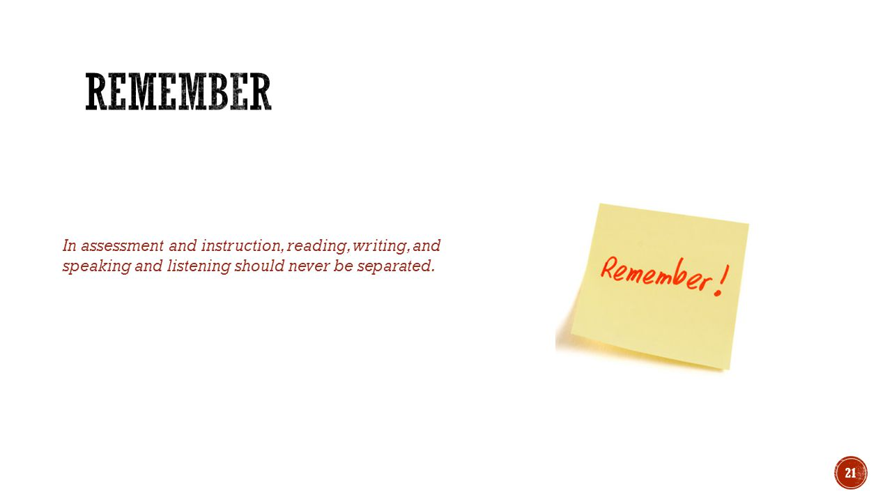 Remember In assessment and instruction, reading, writing, and speaking and listening should never be separated.