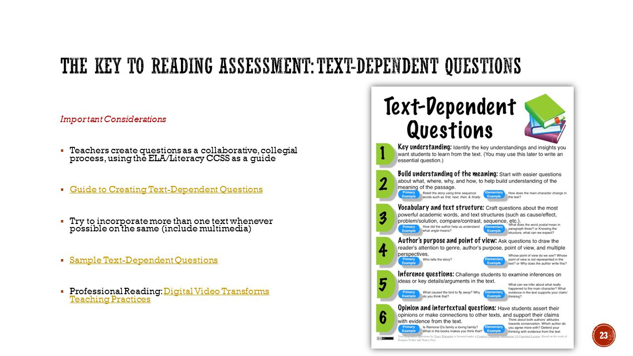 The key to Reading Assessment: Text-Dependent Questions