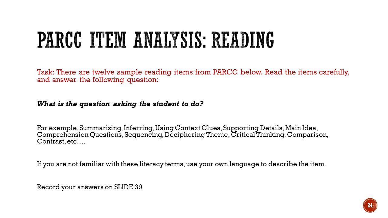 PARCC Item Analysis: Reading