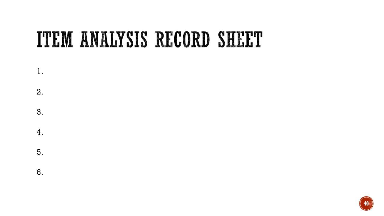 Item Analysis Record Sheet