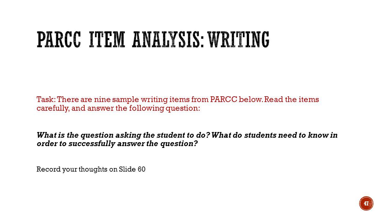 PARCC Item Analysis: Writing
