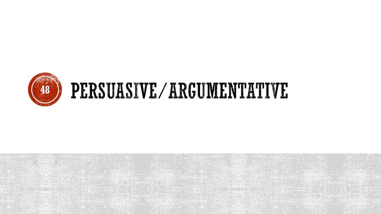 Persuasive/Argumentative