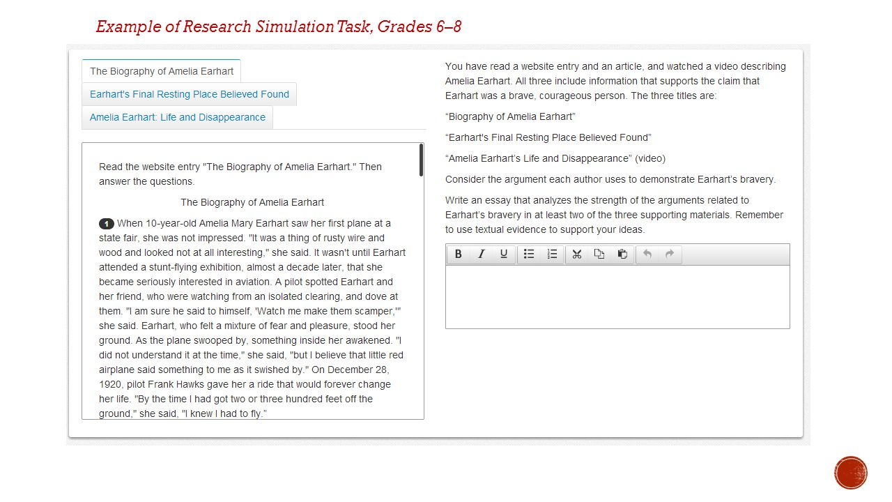 Example of Research Simulation Task, Grades 6–8