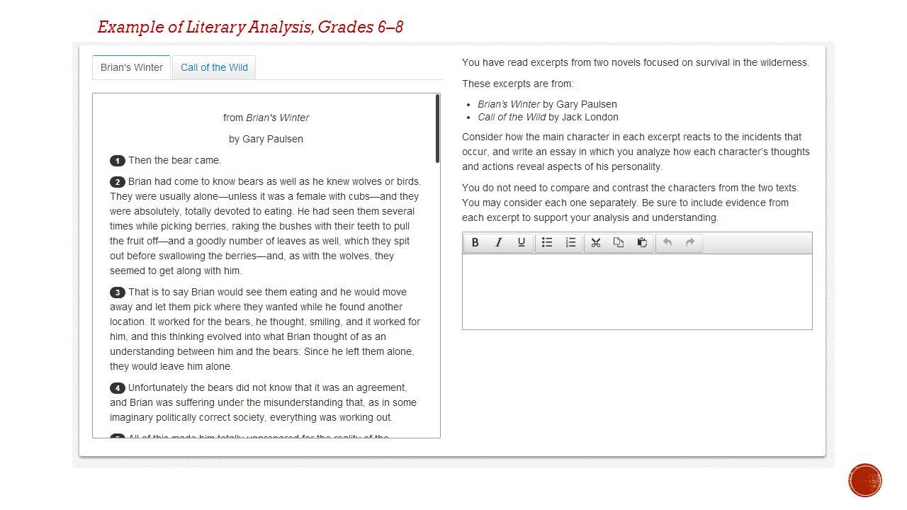 Example of Literary Analysis, Grades 6–8