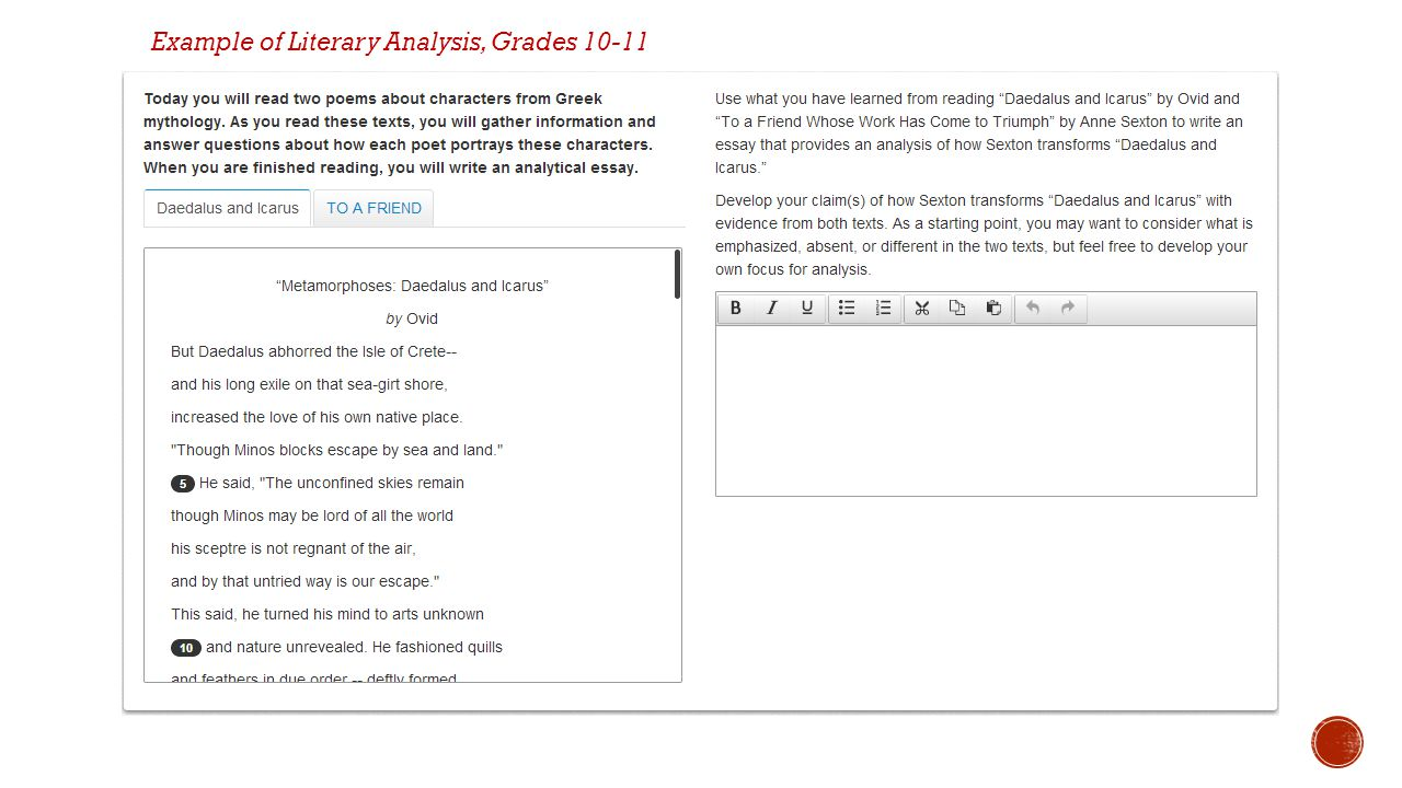 Example of Literary Analysis, Grades 10-11