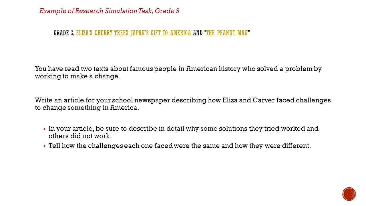 Example of Research Simulation Task, Grade 3