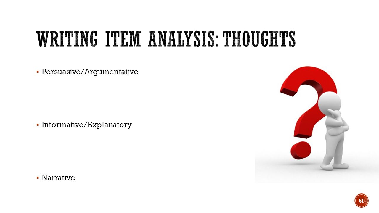 Writing Item Analysis: Thoughts