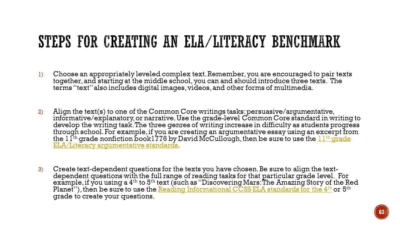 Steps for creating an ELA/Literacy benchmark