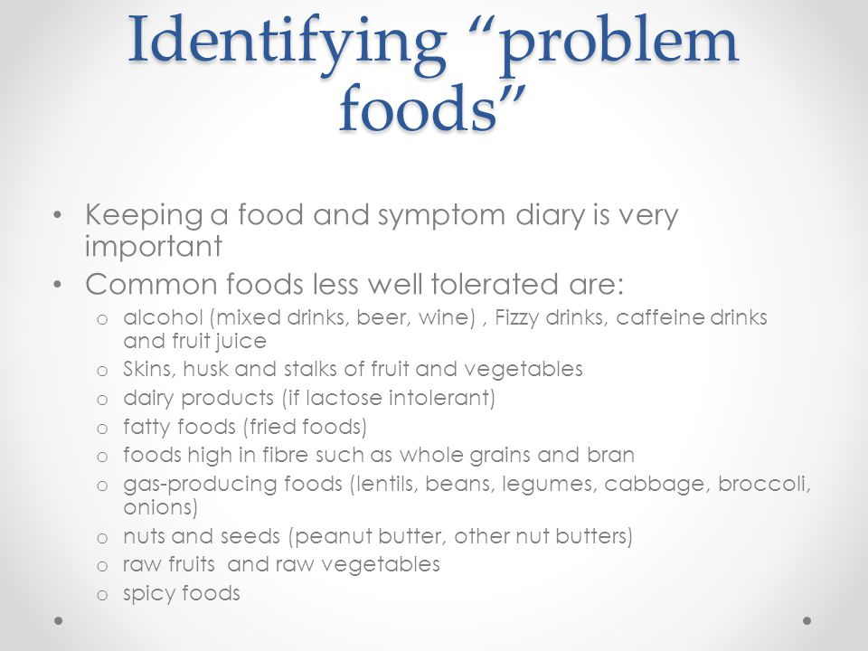 Identifying problem foods
