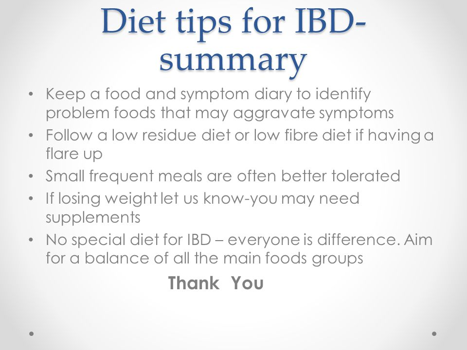 Diet tips for IBD-summary