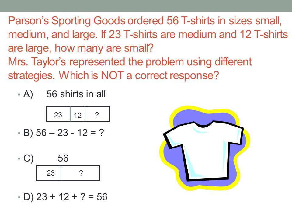Parson's Sporting Goods ordered 56 T-shirts in sizes small, medium, and large. If 23 T-shirts are medium and 12 T-shirts are large, how many are small Mrs. Taylor's represented the problem using different strategies. Which is NOT a correct response