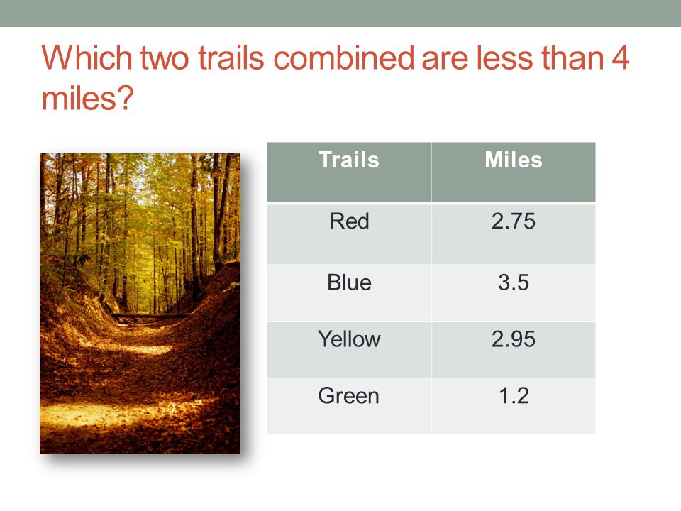 Which two trails combined are less than 4 miles