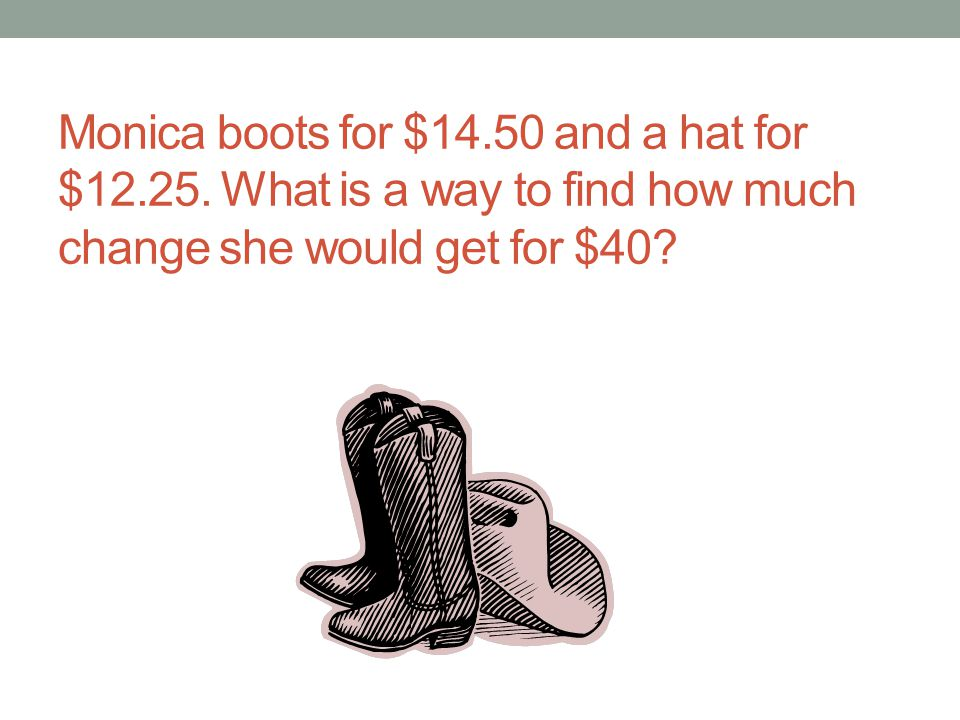 Monica boots for $14. 50 and a hat for $12. 25
