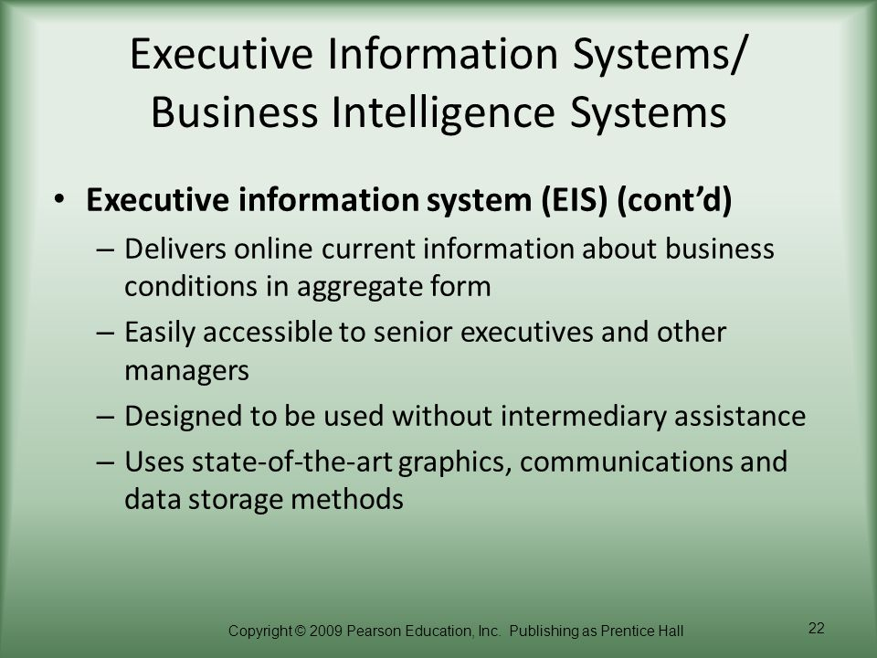 Executive Information Systems/ Business Intelligence Systems