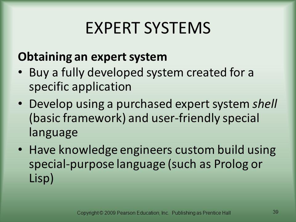 EXPERT SYSTEMS Obtaining an expert system