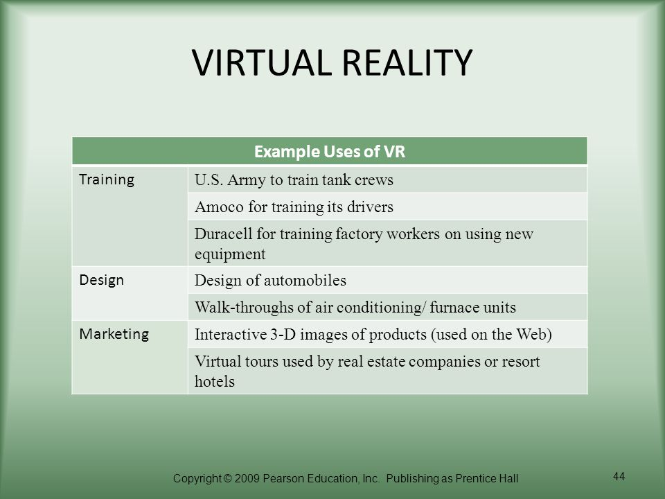 VIRTUAL REALITY Example Uses of VR Training