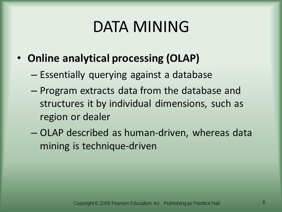 DATA MINING Online analytical processing (OLAP)