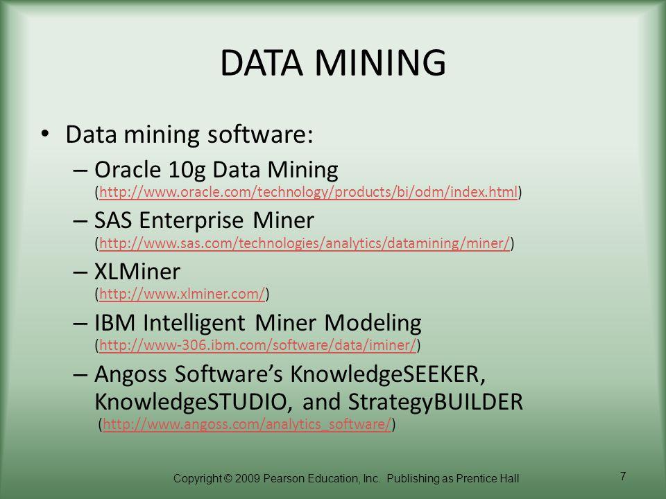 DATA MINING Data mining software: