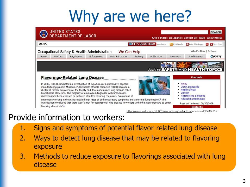 Why are we here Provide information to workers: