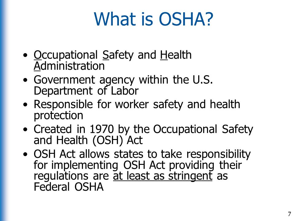 What is OSHA Occupational Safety and Health Administration