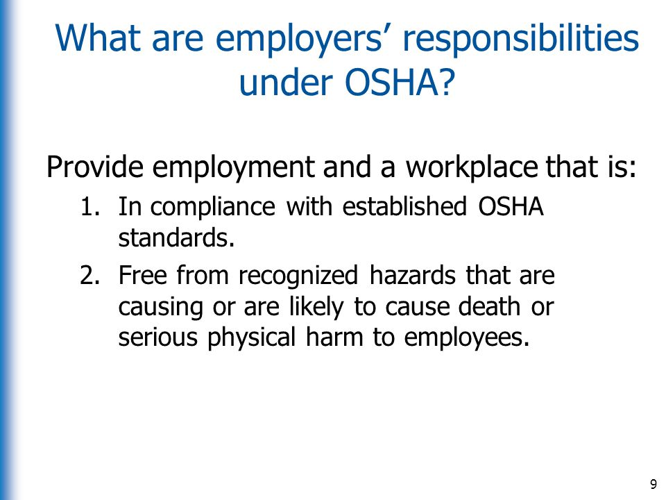 What are employers' responsibilities under OSHA